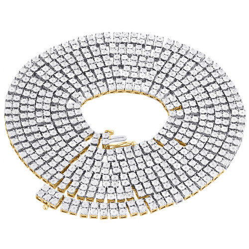 """Mens 2 Row Two Tone Diamond Necklace Link Choker Chain Sterling Silver 22"""" - 30"""""""