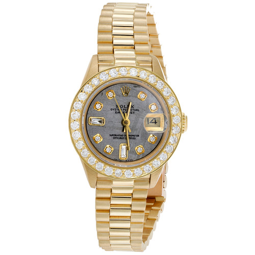 Rolex DateJust President 18K Gold 26mm Diamond Meteorite Dial Watch 1.55 CT.