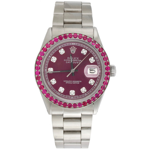 Mens Rolex 36mm DateJust Ruby Gemstone Watch Oyster Band Purple Dial 3.18 CT.