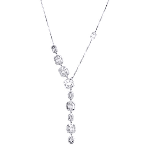14K White Gold Baguette Diamond Square Pendant Drop Statement Necklace 1.75 CT.