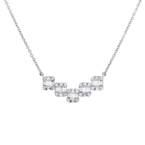 "14K White Gold Baguette Diamond Square Pendant Necklace 16"" Rolo Chain 1/2 CT."