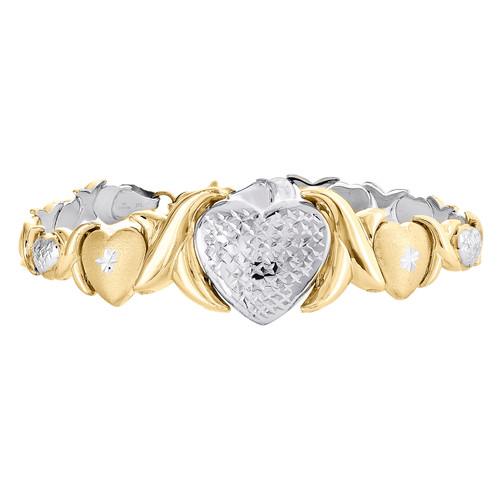 "1/10th 10K Yellow Gold  Two Tone Diamond Cut Jumbo Heart Stampato Bracelet 8"""