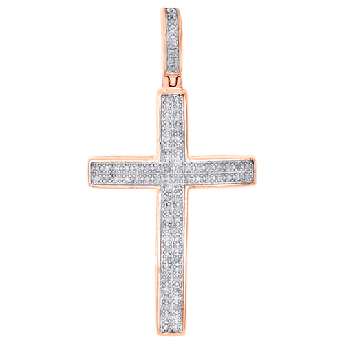 "10K Rose Gold Real Diamond Dome Cross Pendant 1.40"" Unisex Pave Charm 1/4 CT."