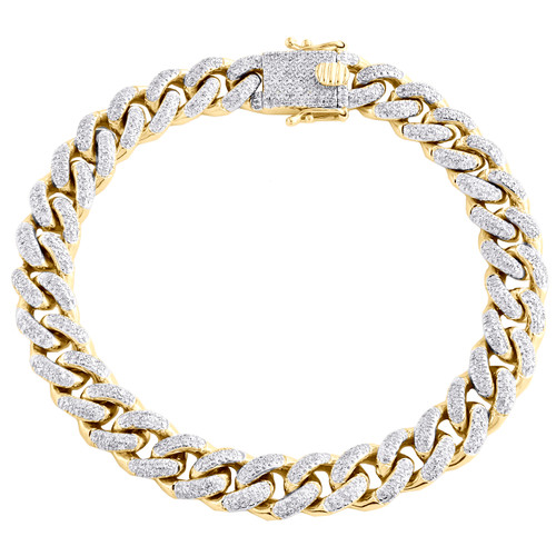 "10K Yellow Gold 9.50mm Round Diamond Miami Cuban Statement 8.75"" Bracelet 2 CT."