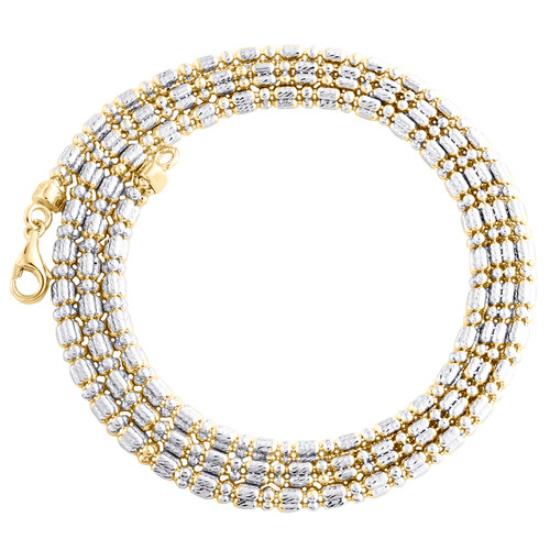 10K Yellow Gold Two Tone 2mm Diamond Cut Ice Chain Bead Necklace 16-24 Inches