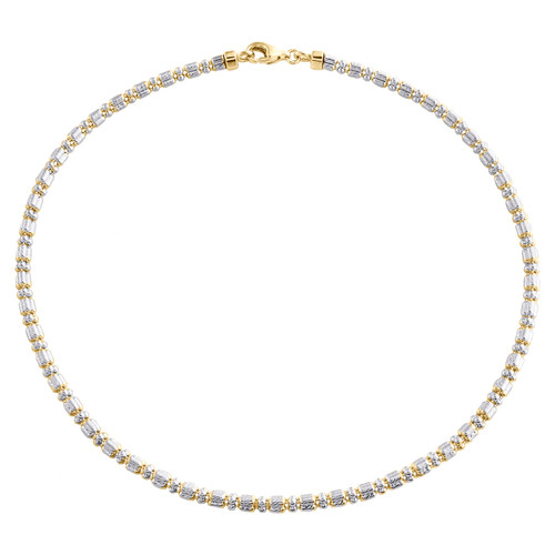 10K Yellow White Gold Two Tone 2mm Diamond Cut Ice Bead Link Bracelet 9-10 Inch