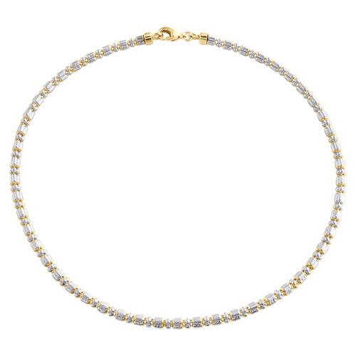 10K Yellow White Gold Two Tone 2mm Diamond Cut Ice Bead Link Bracelet 9-10 Inch