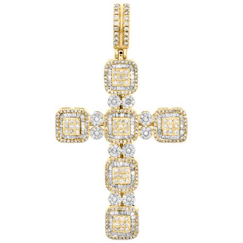"10K Yellow Gold Round & Baguette Diamond Cluster Cross Pendant 2.50"" Charm 2 CT."