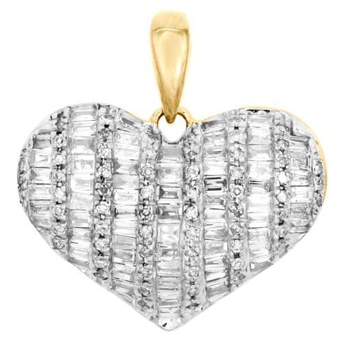 "10K Yellow Gold Round & Baguette Diamond Dome Heart Pendant 0.75"" Charm 1/2 CT."