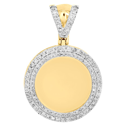 """10K Yellow Gold Round Diamond Memory Picture Frame Pendant 1.50"""" Pave Charm 1 CT"""