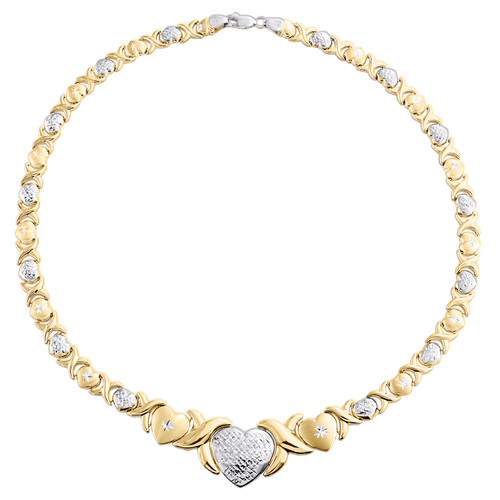 """1/10th 10K Yellow Gold  Two Tone Hearts XOXO Stampato Statement Necklace 16"""""""