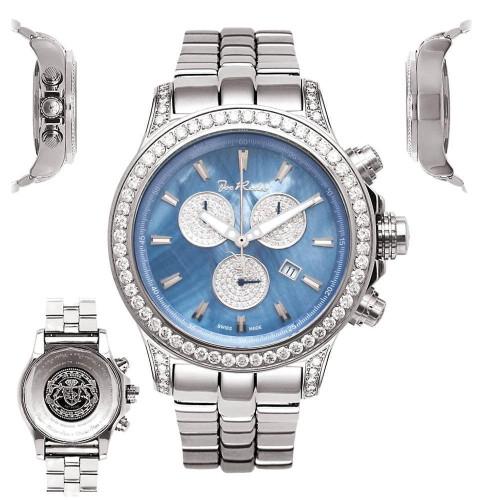 Men's Diamond Watch Joe Rodeo Master Pilot JMP08 7.2Ct Chronograph Blue MOP Dial