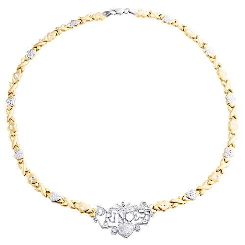 """1/10th 10K Yellow Gold  Two Tone Princess XOXO Stampato Statement Necklace 17"""""""