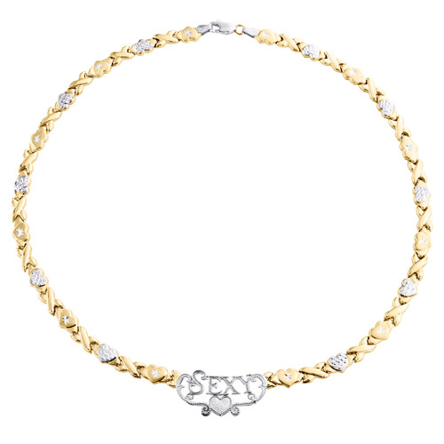 """1/10th 10K Yellow Gold  Two Tone Sexy XOXO Stampato Statement Necklace 17"""""""