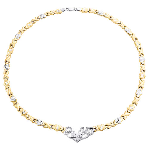"""10K Yellow Gold Two Tone I Love You XOXO Stampato Statement Set Necklace 17"""""""