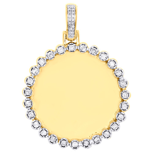 "10K Yellow Gold Round Diamond Memory Frame Picture Pendant 1.50"" Charm 1/2 CT."