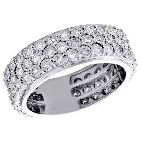 10K White Gold Round Diamond 3 Row Wedding Band 8mm Statement Pinky Ring 1 CT.