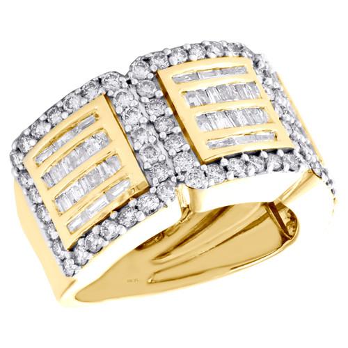 10K Yellow Gold Round & Baguette Diamond Wedding Band 12mm Statement Ring 2 CT.