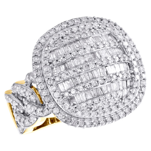 10K Yellow Gold Baguette Diamond Statement Cuban Link Dome 20mm Pinky Ring 2 CT.