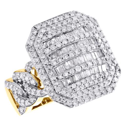 10K Yellow Gold Baguette Diamond Miami Cuban Link 20mm Statement Pinky Ring 2 CT