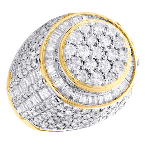 10K Yellow Gold Baguette Cut Diamond Cluster Band 22mm Statement Pinky Ring 5 CT