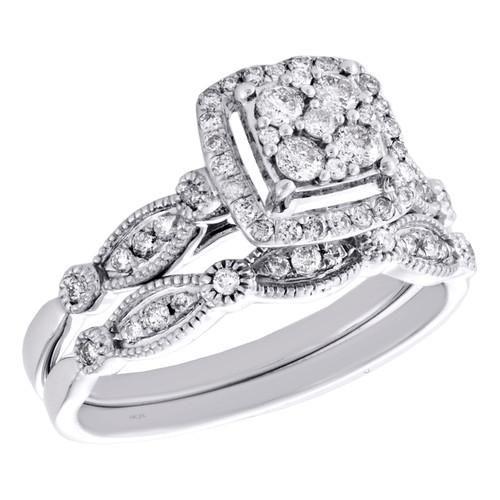 14K White Gold Diamond Bridal Set Halo Engagement Filigree Wedding Ring 1/2 CT.