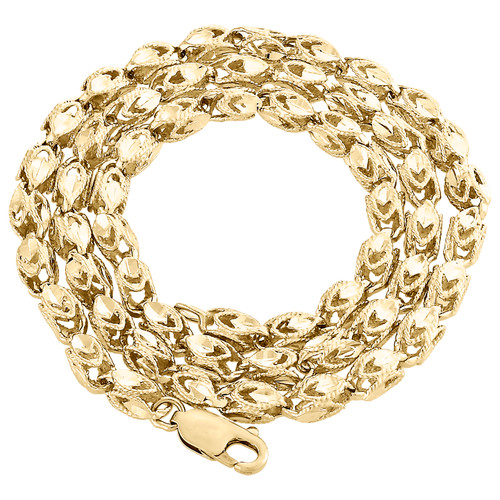10K Yellow Gold 3D Turkish Rope Fancy Link 5.50mm Chain Statement Necklace 26""