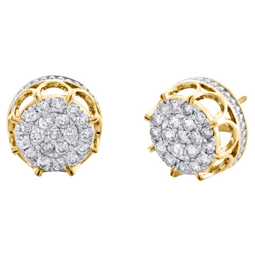 10K Yellow Gold Round Diamond 3D Cluster Statement Stud 14mm Earrings 1.50 CT.