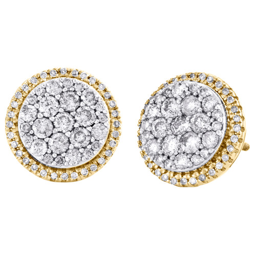10K Yellow Gold Round Diamond Cluster Halo Stud 11.50mm Circle Earrings 1 CT.