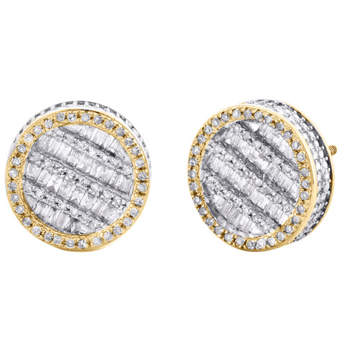 10K Yellow Gold Round & Baguette Diamond Statement Stud 12mm Earrings 3/4 CT.