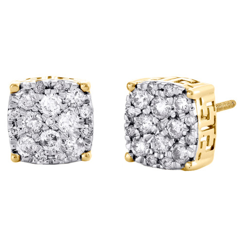 10K Yellow Gold Round Diamond Cluster Stud 4 Prong Square 9mm Pave Earrings 1 CT