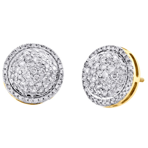 10K Yellow Gold Round Diamond Tier Statement Stud 12mm Circle Dome Earrings 1 CT
