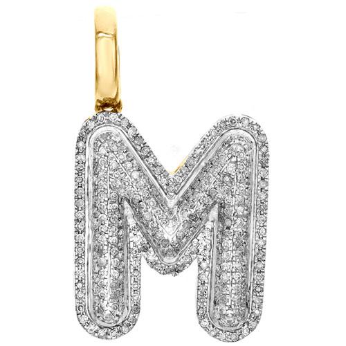"""10K Yellow Gold Diamond Initial M Pendant 1.05"""" Mini Bubble Letter Charm 0.48 CT"""