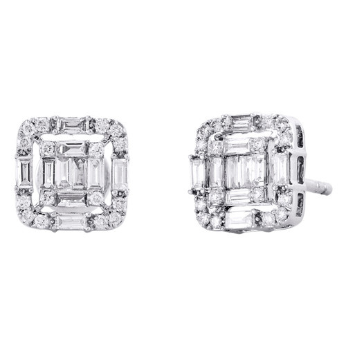 14K White Gold Baguette Diamond Fancy Cluster Stud 9mm Statement Earrings 5/8 CT