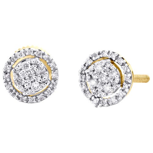 10K Yellow Gold Round Diamond Circle Halo Cluster Stud 7.50mm Earrings 1/5 CT.