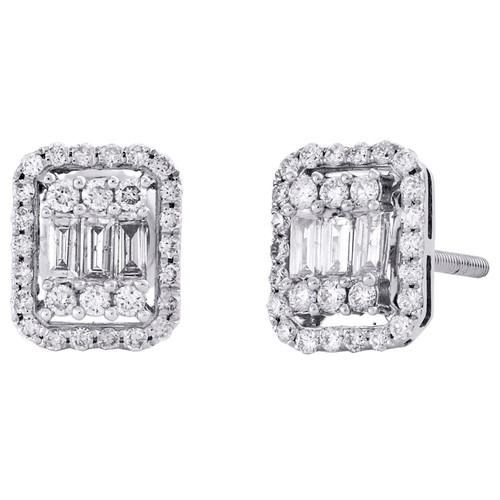 14K White Gold Baguette Cut Diamond Halo Frame Cluster Stud 9mm Earrings 1/2 CT.