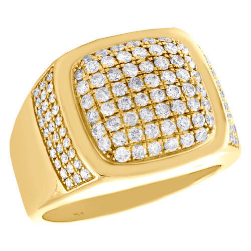 10K Yellow Gold Round Diamond Dome Wedding Band 17mm Square Pinky Ring 1.52 CT.