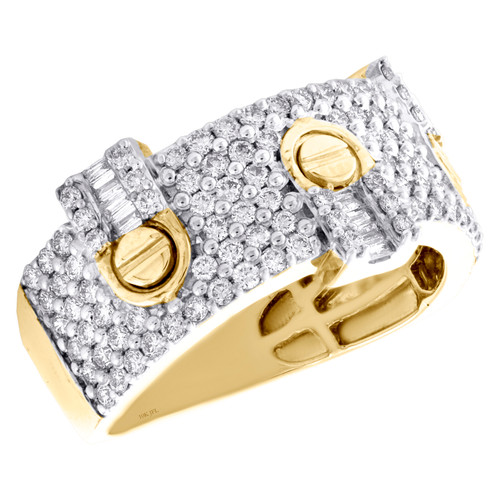 10K Yellow Gold Baguette Diamond Screw Motif Wedding Band 12mm Mens Ring 1.35 CT
