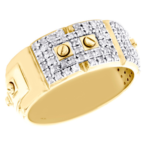 14K Yellow Gold Round Diamond Screw Motif Weding Band 9.50mm Mens Ring 0.70 CT.