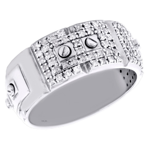 14K White Gold Round Diamond Screw Motif Weding Band 9.25mm Mens Ring 0.70 CT.