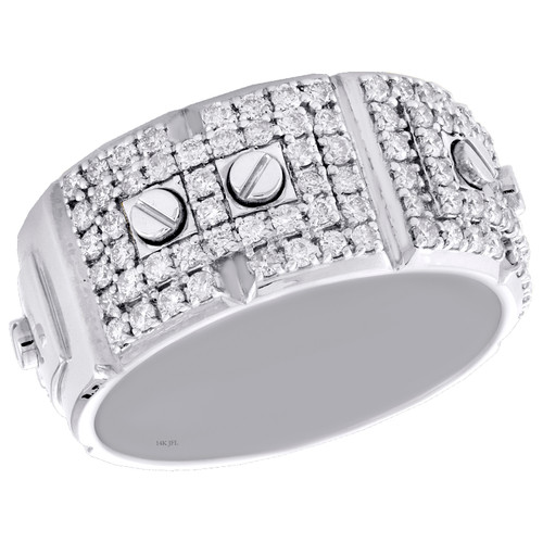 14K White Gold Round Cut Diamond Screw Motif Weding Band 10.50mm Mens Ring 1 CT.