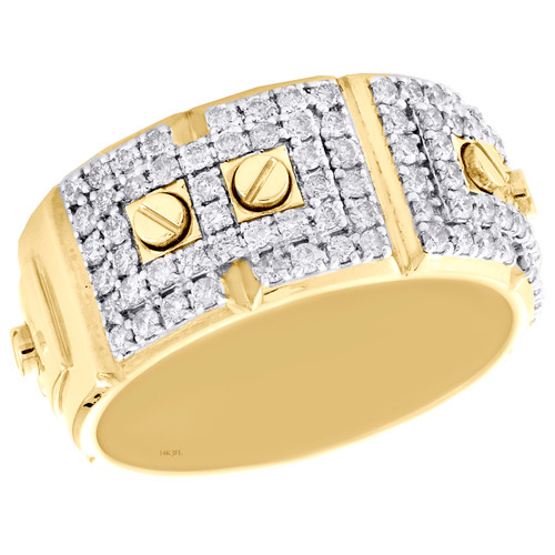 14K Yellow Gold Round Cut Diamond Screw Motif Weding Band 10.50mm Mens Ring 1 CT