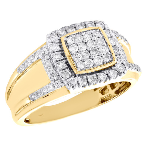 10K Yellow Gold Round Diamond Square Cluster Statement Band 12mm Pinky Ring 1 CT