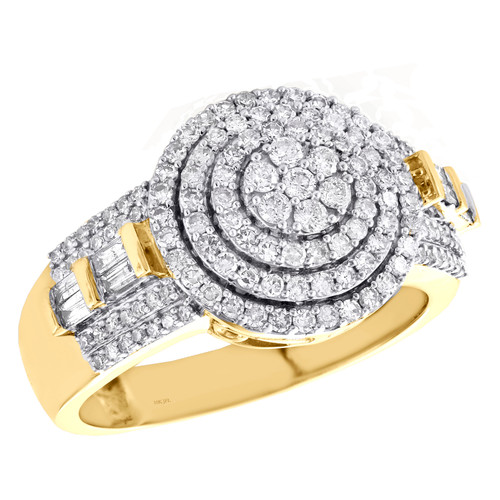 10K Yellow Gold Round Diamond Circle Cluster Tiered Band 14mm Pinky Ring 1.20 CT