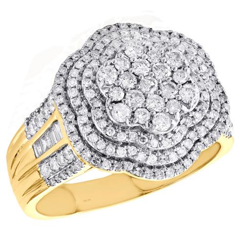 10K Yellow Gold Round Diamond Cluster Statement Band 17.50mm Pinky Ring 1.50 CT.