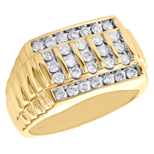 10K Yellow Gold Diamond Ribbed Statement Band 13mm Channel Set Pinky Ring 1 CT.