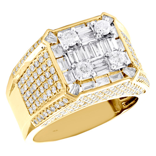 14K Yellow Gold Baguette Diamond Square Statement Band 14mm Pinky Ring 2.87 CT.