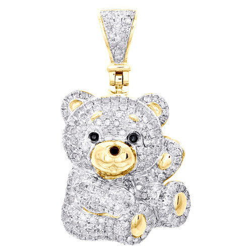 "10K Yelelow Gold Round Diamond 3D Teddy Bear Pendant 1.30"" Fancy Pave Charm 1 CT"