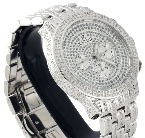 Mens New IceTime Diamond Band Watch 45mm Case Crushed Illusion Dial Prince 2 Ct.
