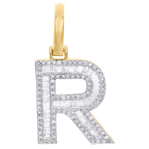 "10K Yellow Gold Baguette Diamond Letter R Pendant 1"" Block Initial Charm 0.55 CT"
